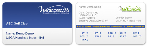 Official Handicap Cards